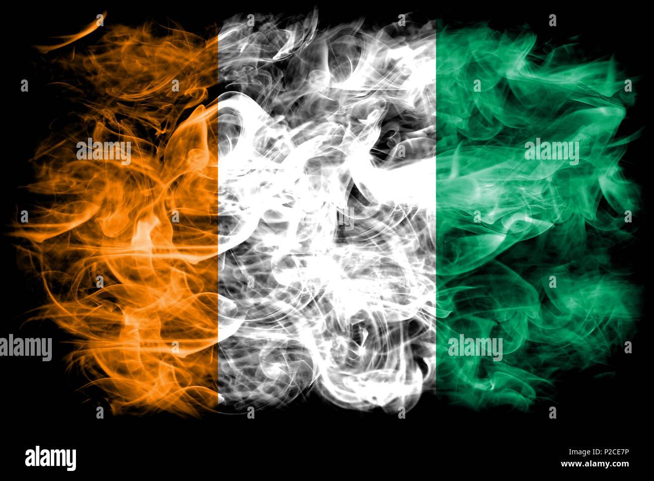 Cote d'Ivoire smoke flag - Stock Image