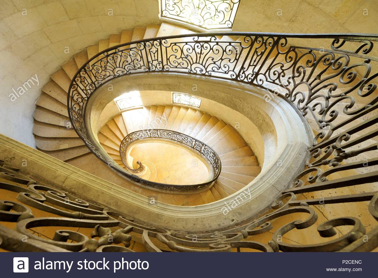 France, Aisne, Premontre, Premontre Abbey, Abbey Palace Of The Former  Premontre Abbey, Monumental Suspended Staircase Dating From 1846