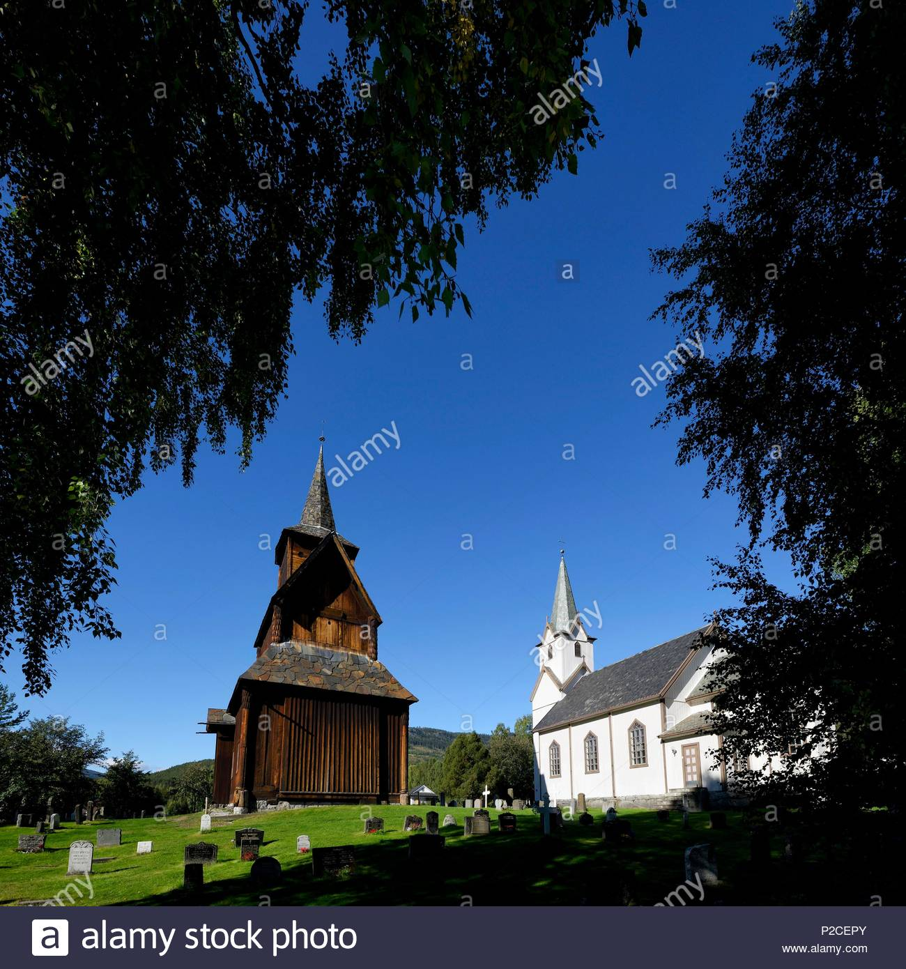Norway, Buskerud, Torpo Stave Church between Geilo and Gol - Stock Image