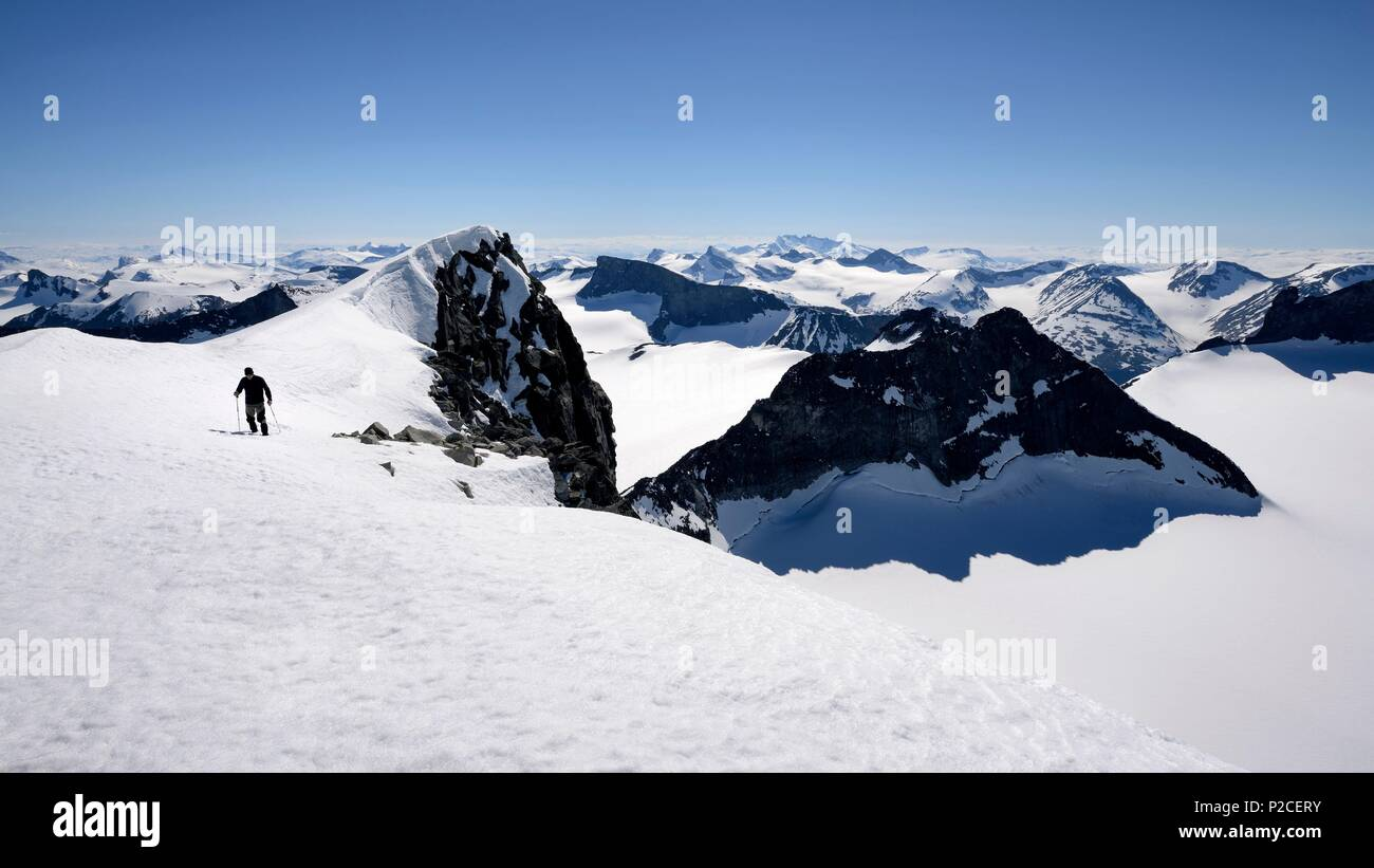 Norway, Oppland, Vaga, Jotunheimen National Park, trekker climbing Galdhopiggen, the tallest mountain in Norway and Scandinavia at 2469m - Stock Image