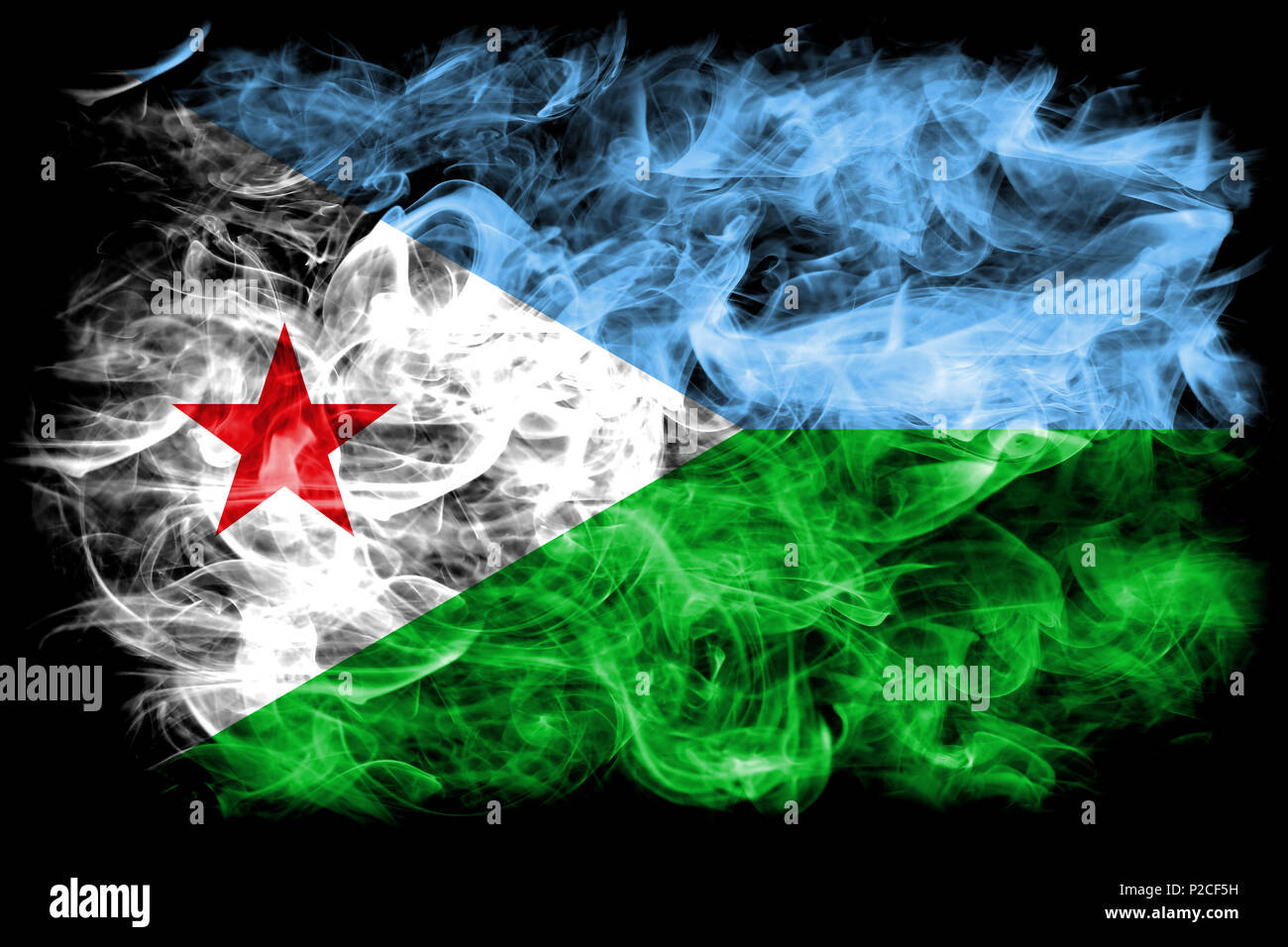 Djibouti smoke flag - Stock Image