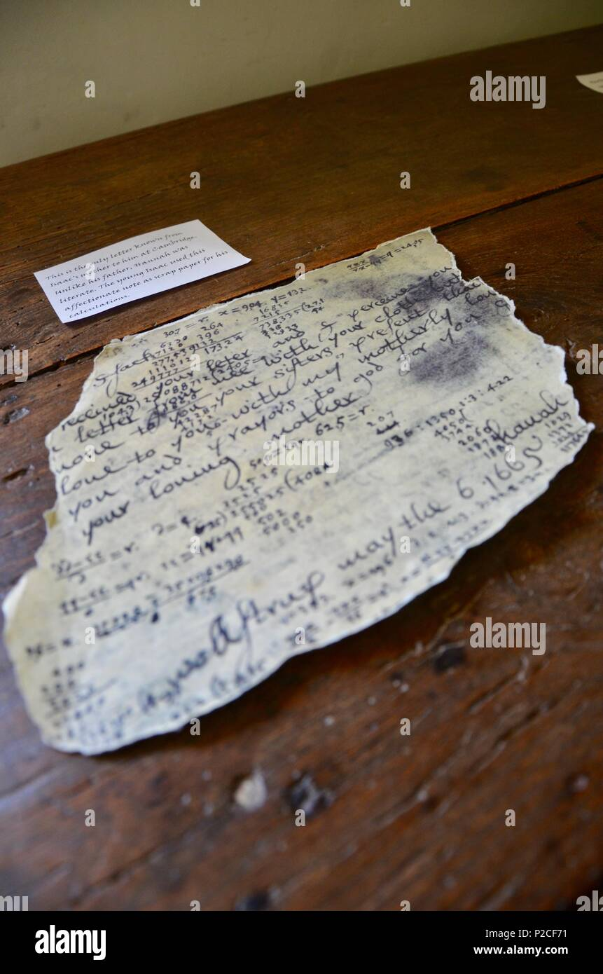 Scrap of paper on desk, a letter written to the scientist and mathematician Sir Isaac Newton by his mother, at Woolsthorpe Manor, Lincolnshire, UK. - Stock Image
