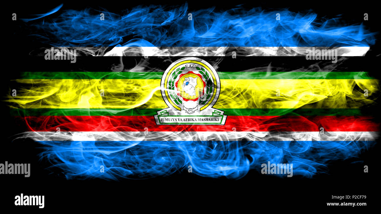 East African Community smoke flag, EAC flag Stock Photo