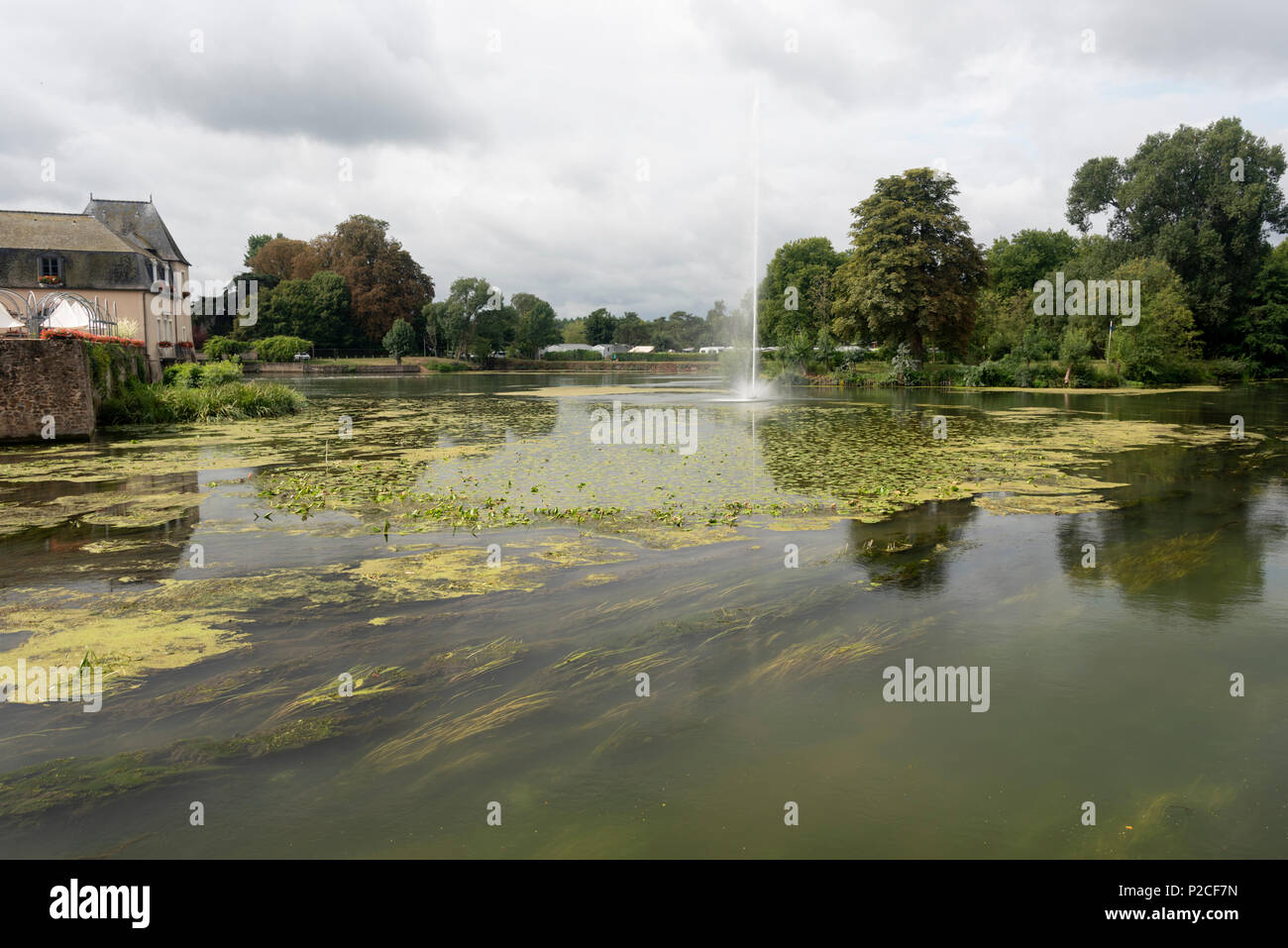 The large ornamental water fountain at La Flèche in the Sarthe department of Western France Stock Photo