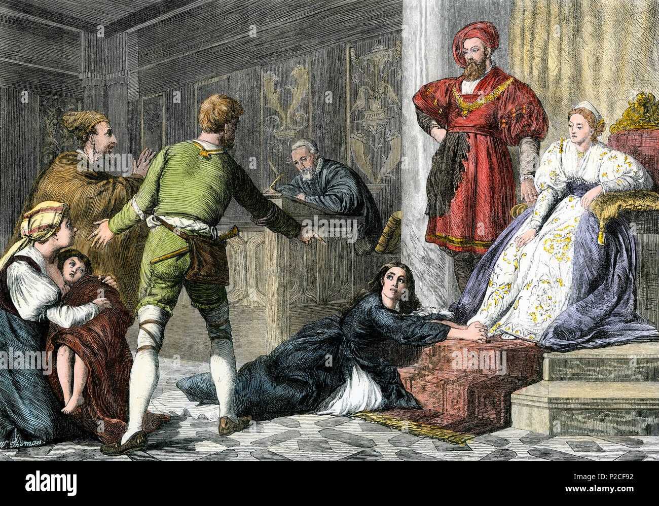 Jew's daughter accused of witchcraft in the Middle Ages.  Hand-colored woodcut - Stock Image