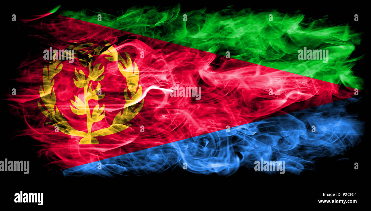 Eritrea smoke flag - Stock Image