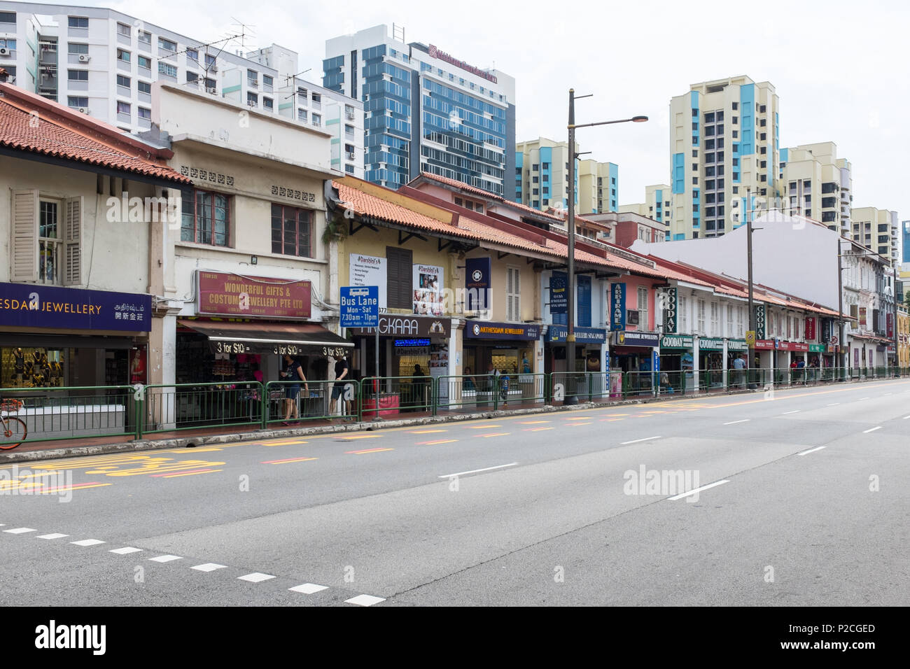 Serangoon Road in the Little India district of Singapore which is known for indian restaurants,malls, jewellery shops and tailors. - Stock Image