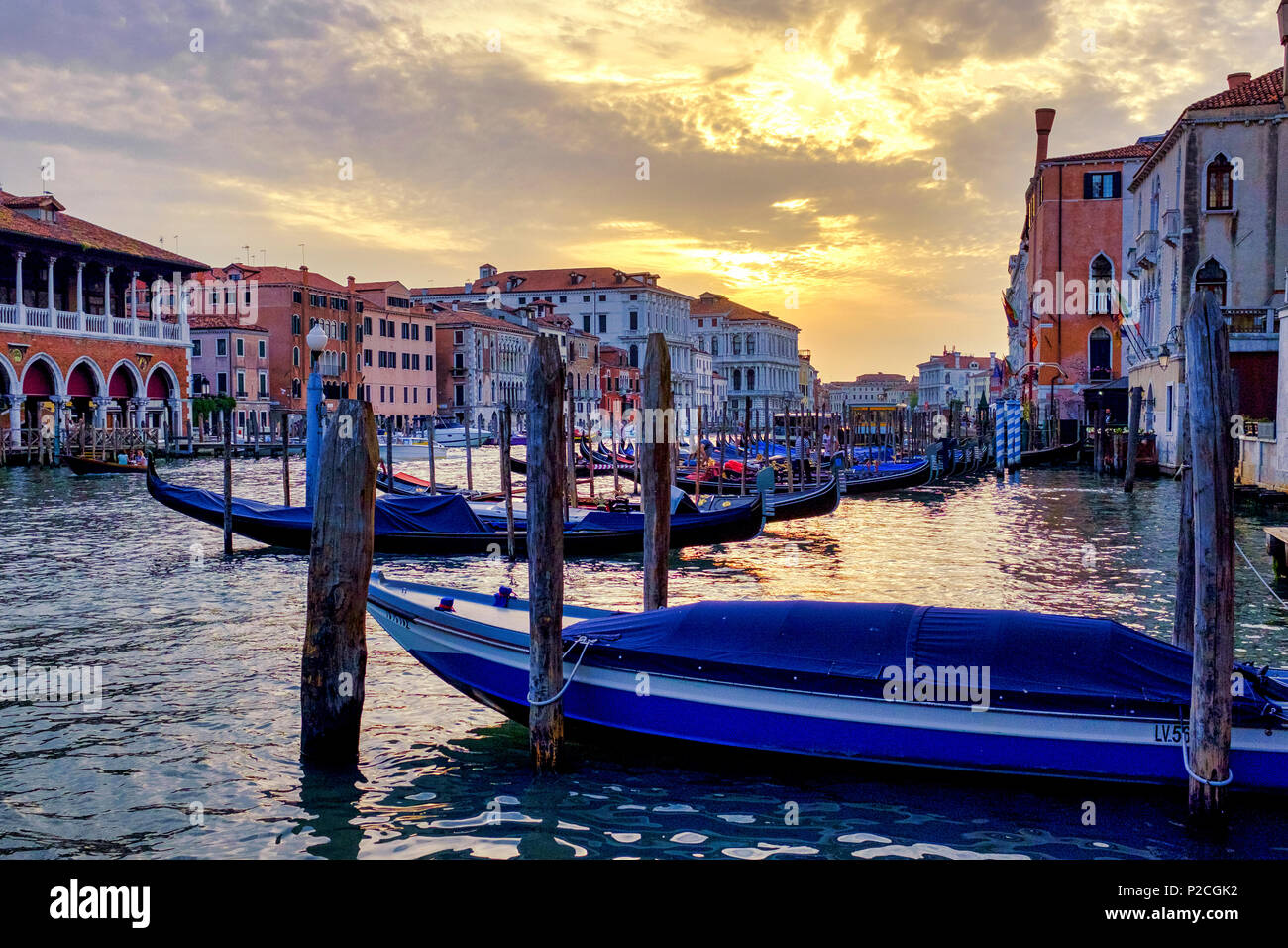 Sunset in Canal Grande, Venice, Italy - Stock Image