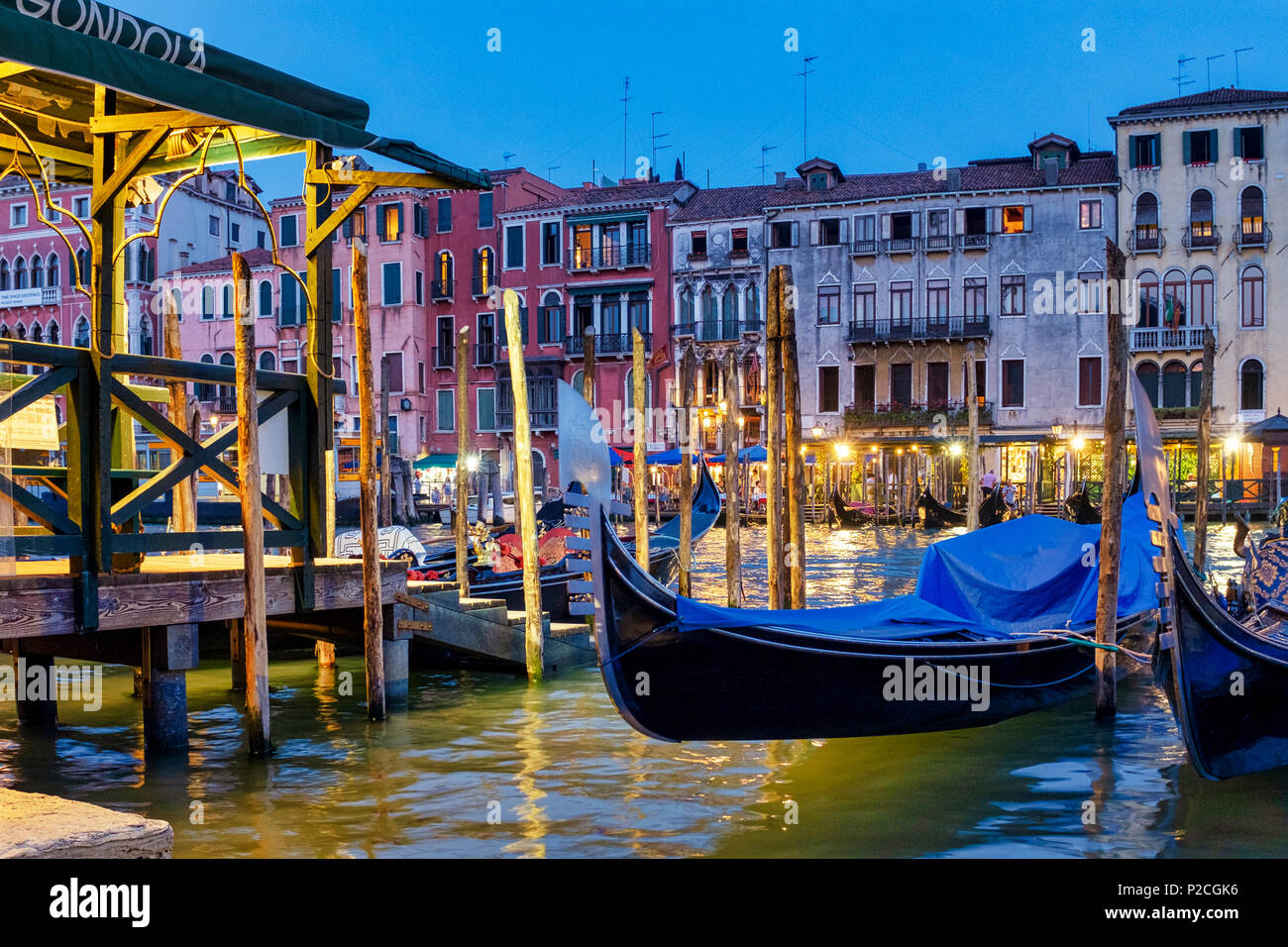 Gondolas in Canal Grande, Venice, Italy, - Stock Image