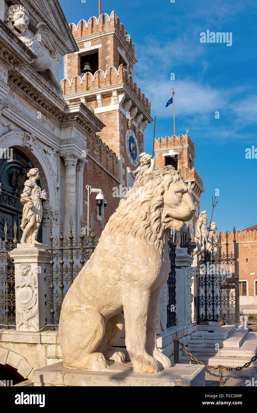 Piraeus lion on display at the Venician Arsenal, Venice, Italy - Stock Image
