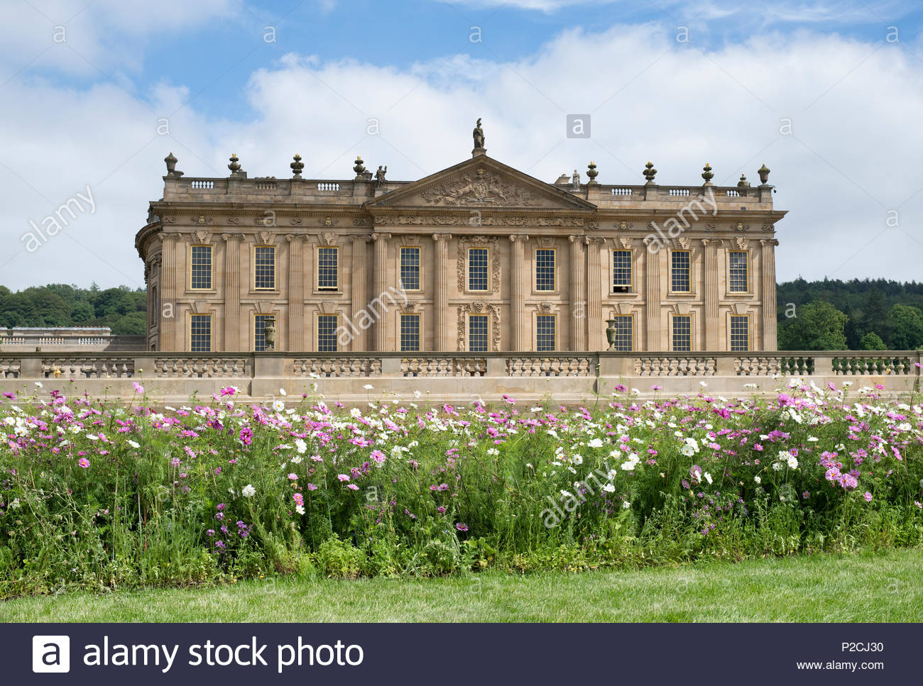 Chatsworth house. RHS Chatsworth flower show 2018. Chatsworth, Bakewell, Derbyshire, UK - Stock Image