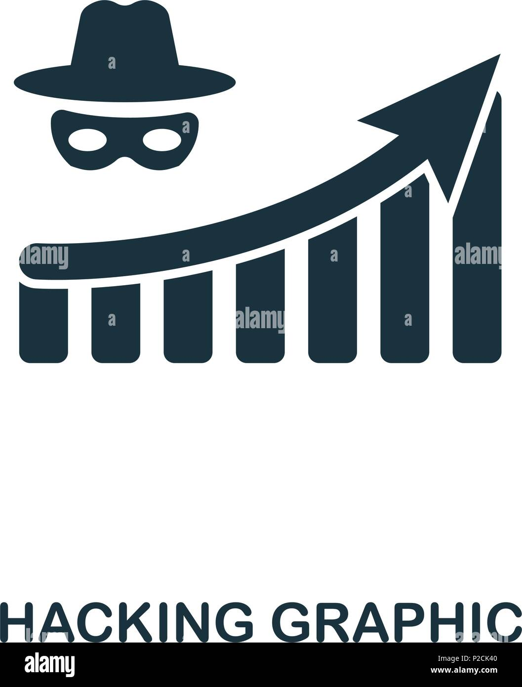 Hacking Increase Graphic icon. Mobile apps, printing and more usage. Simple element sing. Monochrome Hacking Increase Graphic icon illustration. - Stock Vector