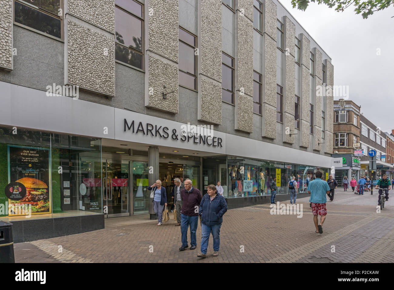 Marks and Spencer store in Abington Street, Northampton, UK; affected by the firm's closure programme and due to close on 11 August 2018 - Stock Image