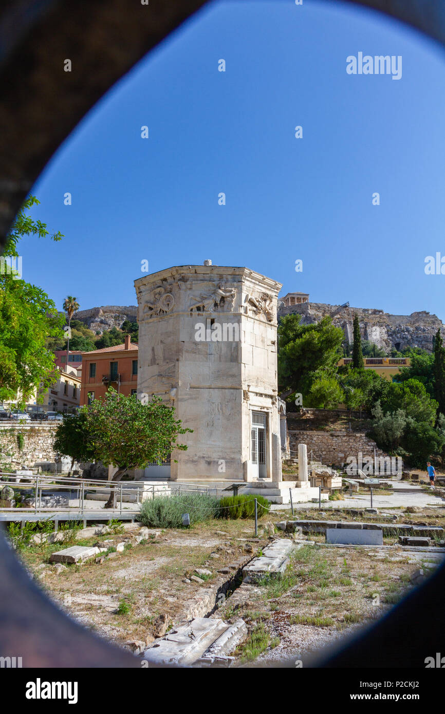 View through gate of Tower of the Wind-gods in Roman Forum and Acropolis- portrait format - Stock Image