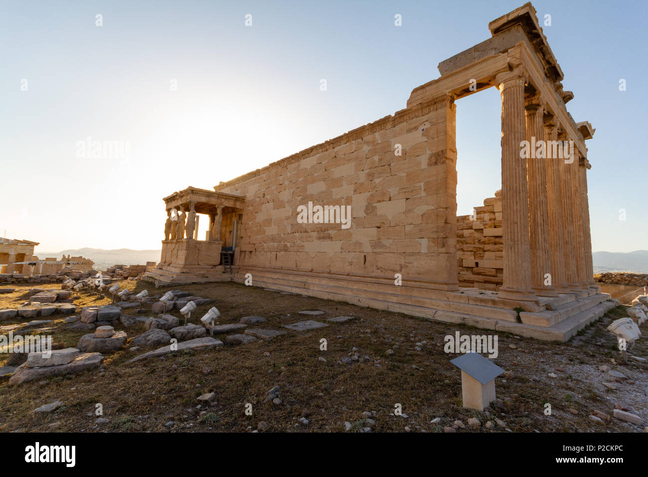 Erechtheum temple ruins on the Acropolis in Athens, Greece on an June afternoon- closer view - Stock Image