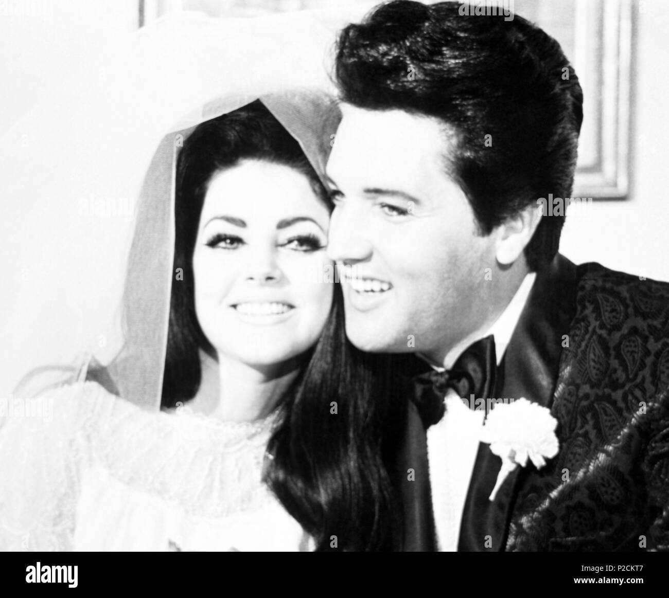 The American singer Elvis Presley at his wedding with Priscilla Presley in 1967. - Stock Image