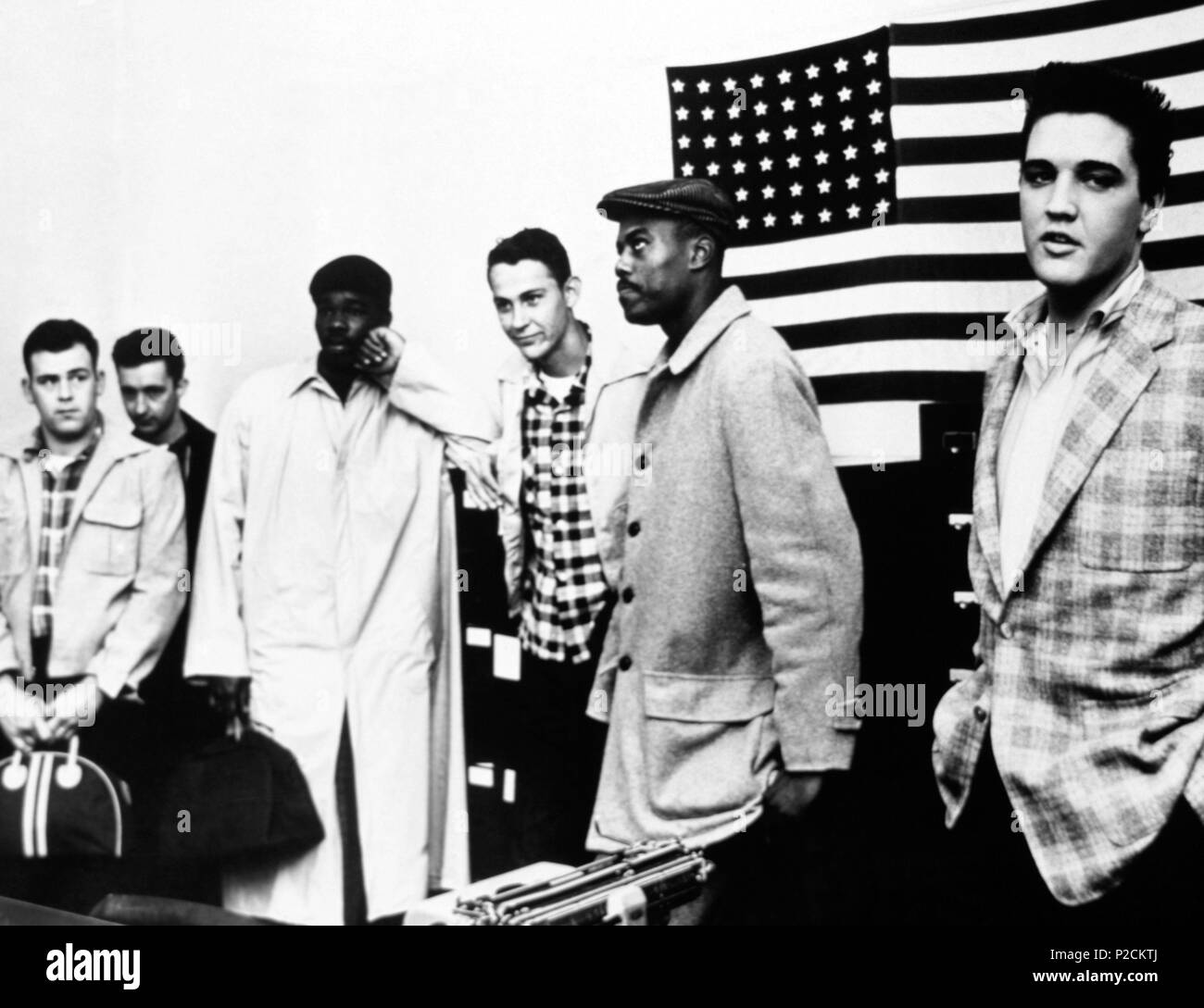 The American singer Elvis Presley in the Army Induction Center at Memphis (Tennessy) in March 1958 Stock Photo - Alamy