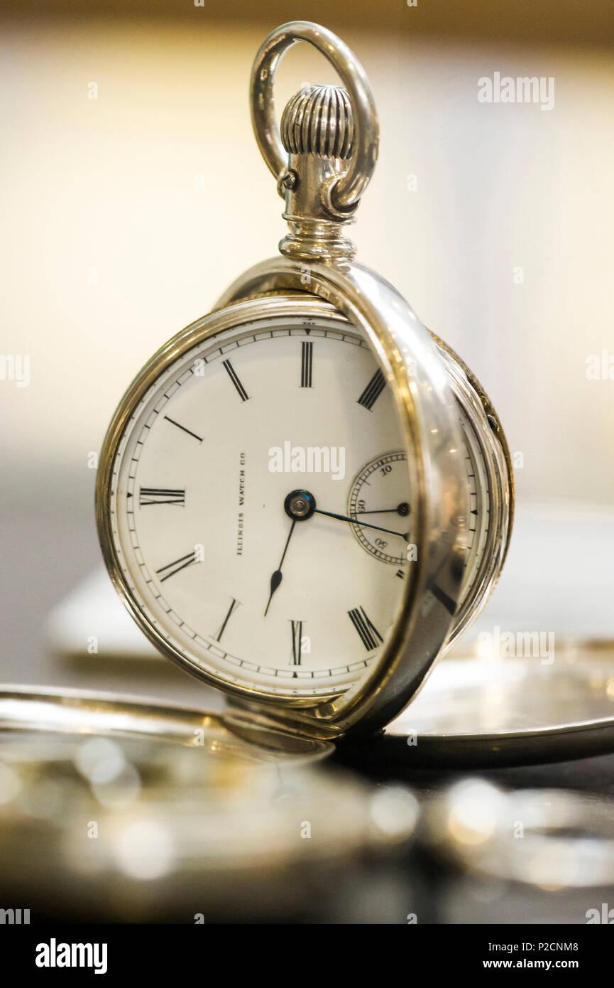antique clock, clock museum, Furtwangen, Black Forest, Baden-Wuerttemberg, Germany - Stock Image