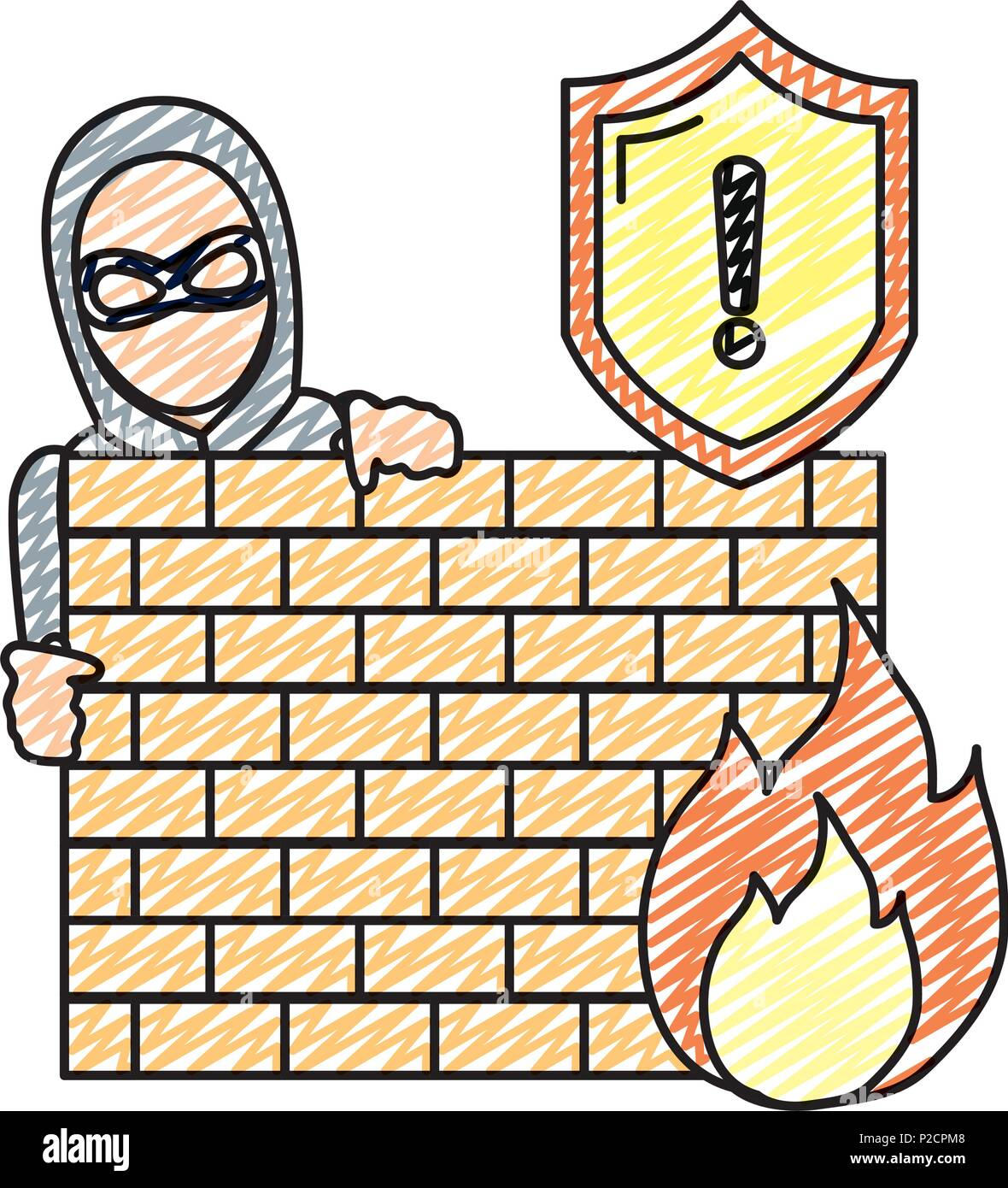 doodle thief with mask behind brick wall and fire caution Stock ...