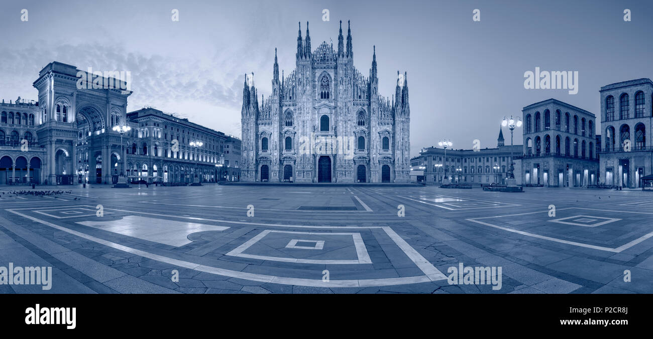 Milan. Panoramic cityscape image of Milan, Italy with Milan Cathedral during sunrise. Stock Photo