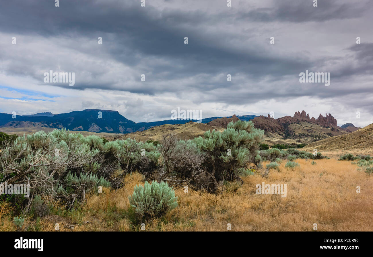 Arid landscape of the prairie in Buffalo Bill State Park at dusk with sagebrush, dry grasses, and rock formations on the horizon, Cody, Wyoming, USA. - Stock Image