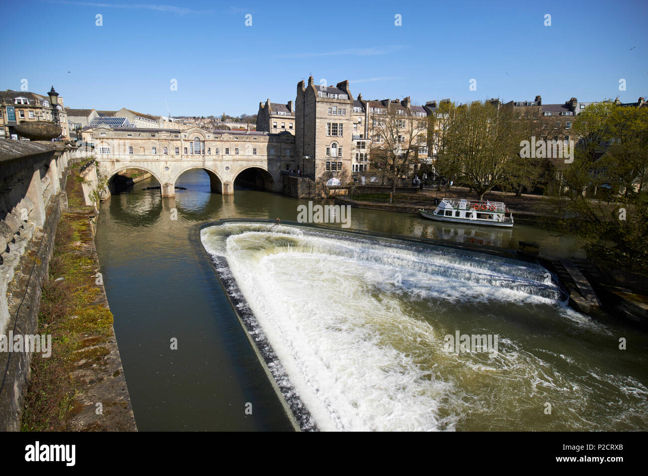 The pulteney bridge pulteney weir on the river avon in Bath city centre England UK - Stock Image
