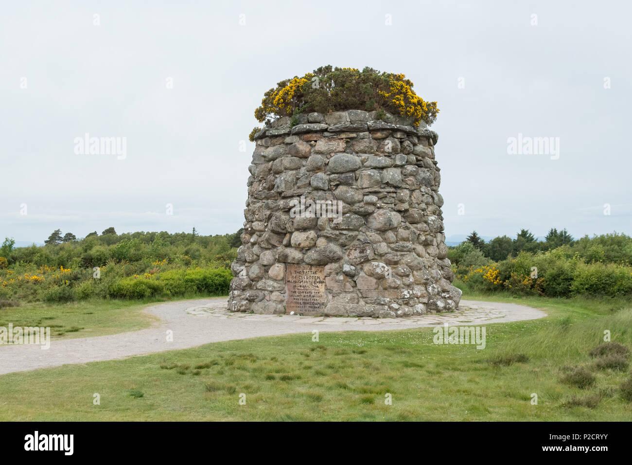 Jacobite Memorial Cairn, Culloden Moor, Culloden Battlefield, Scotland, UK - Stock Image