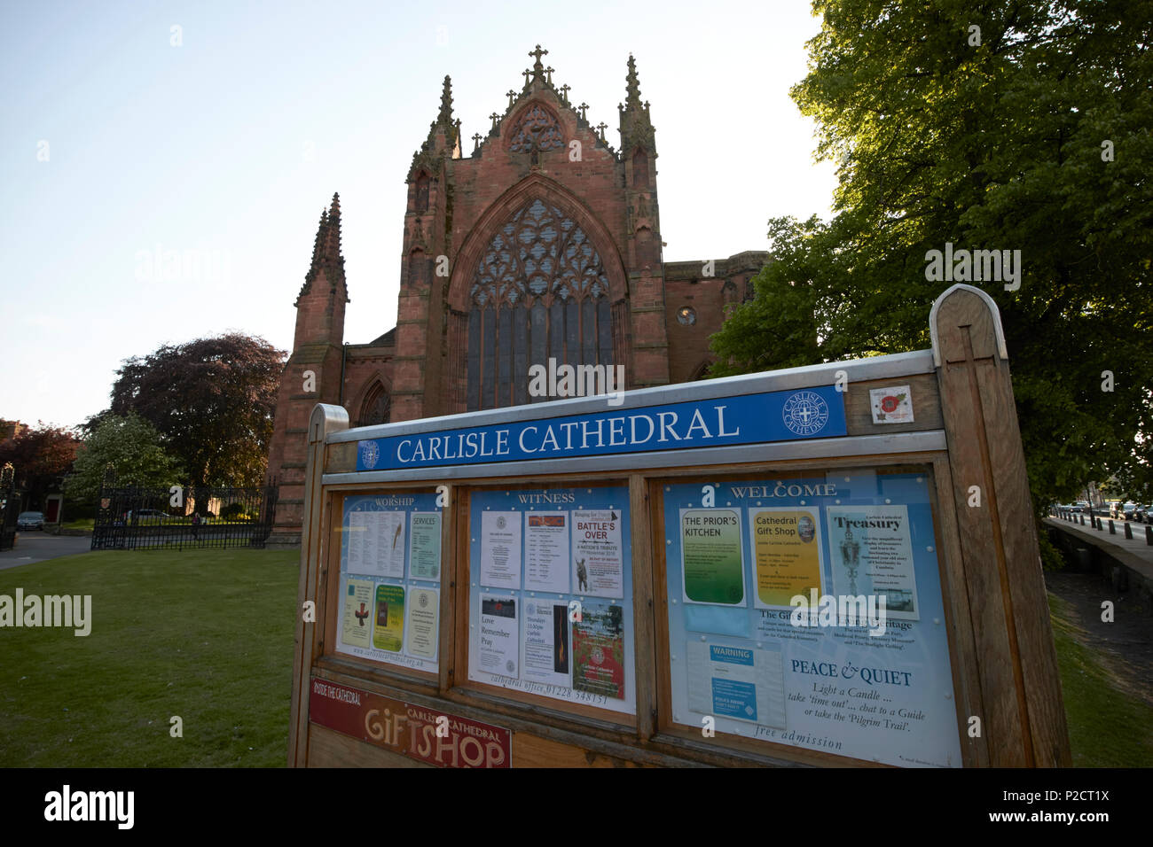 Carlisle cathedral noticeboard in late evening Cumbria England UK - Stock Image