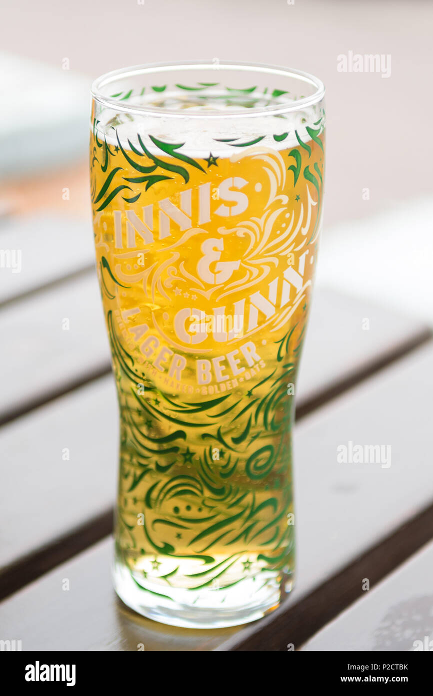 Innis & Gunn lager beer pint glass - Stock Image