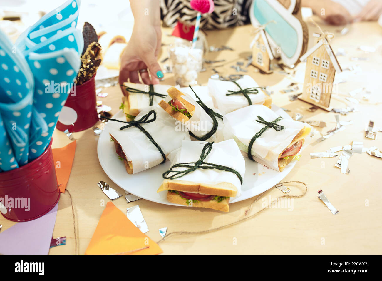 Girl Birthday Decorations Table Setting From Above With Cakes Drinks And Party Gadgets