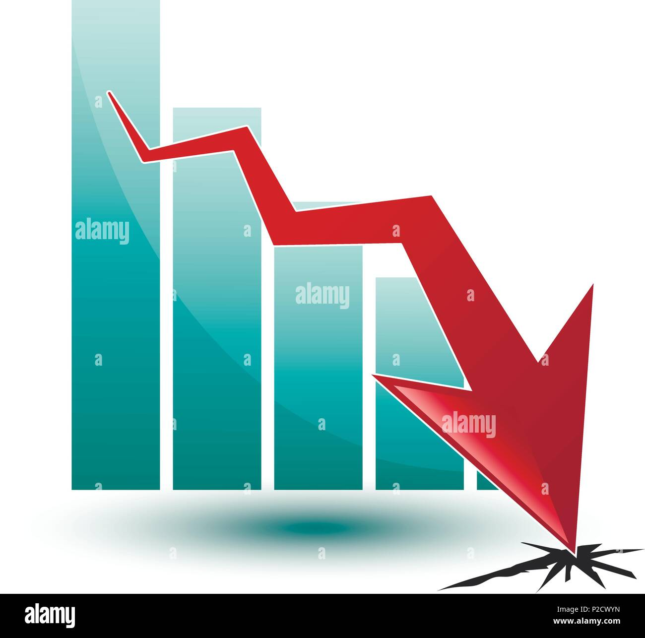 large chart and arrow on a white background in regress - Stock Vector