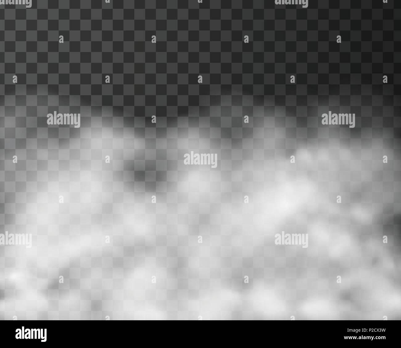 Realistic illustration of smoke or clouds, isolated on transparent background - vector - Stock Vector
