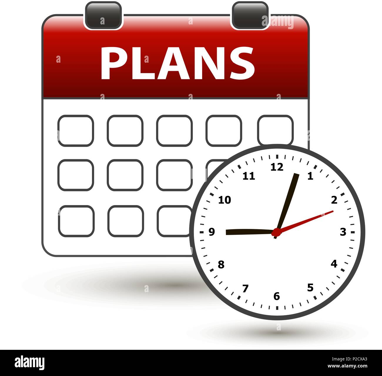 tear-off calendar with clockface with title plans on a white - Stock Image