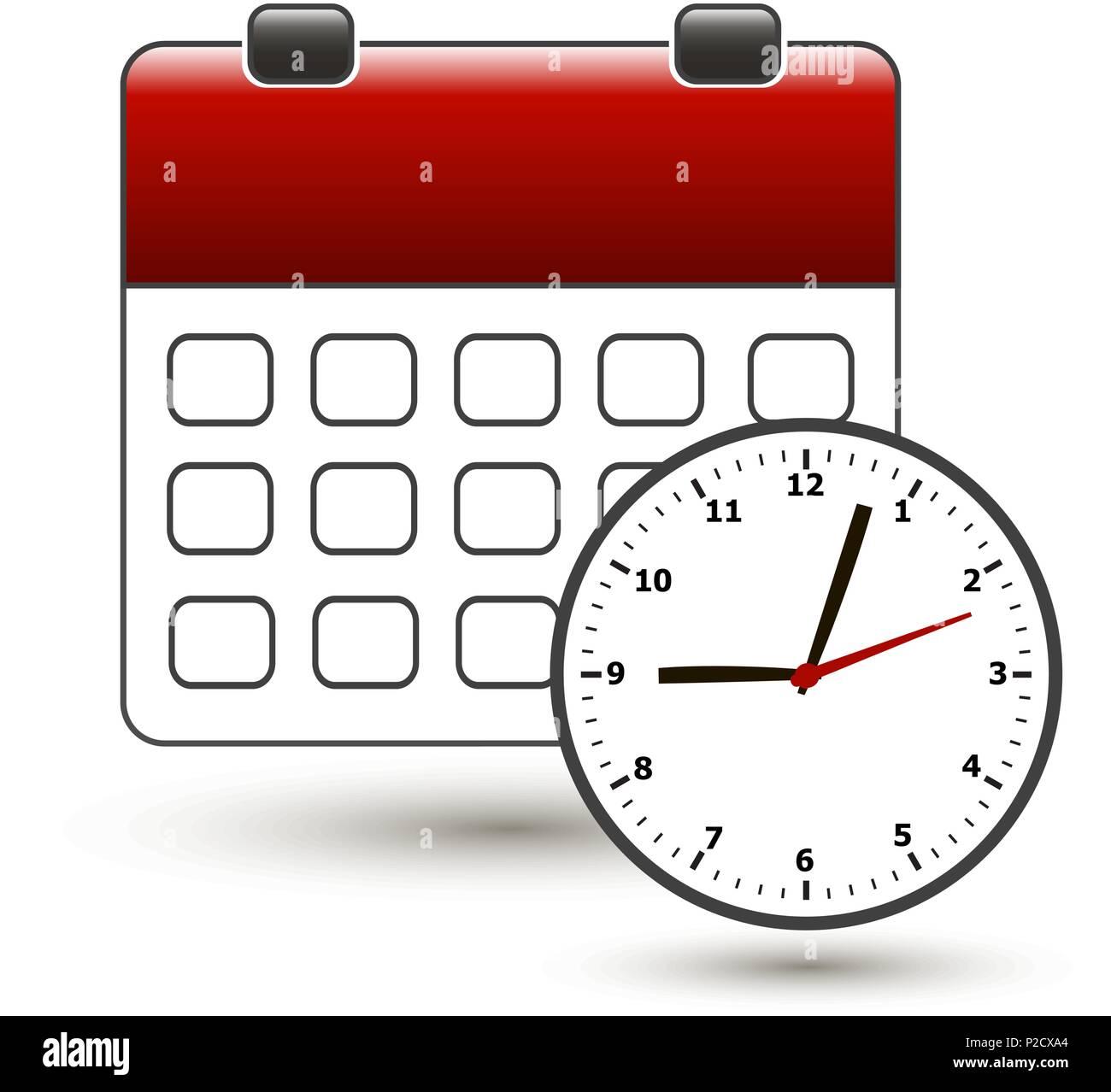 tear-off calendar with clockface on a white - Stock Image