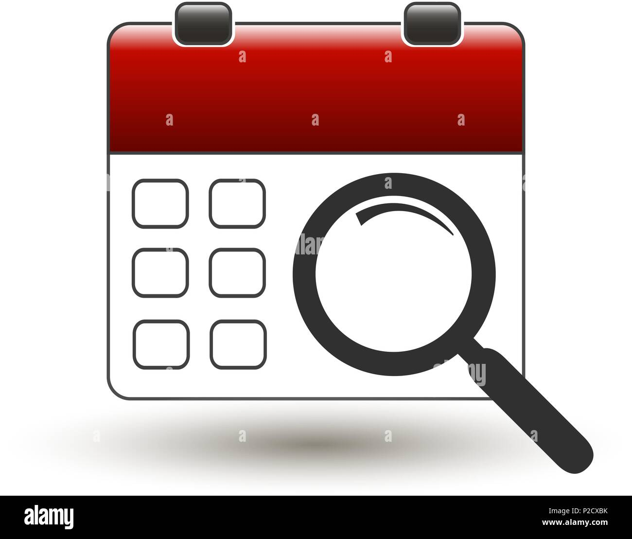 tear-off calendar with magnifying glass on a white - Stock Image