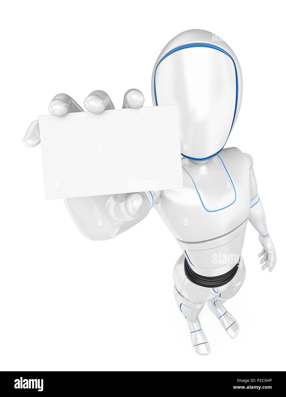 3d futuristic android illustration. Humanoid robot standing with a blank card. Isolated white background. - Stock Image