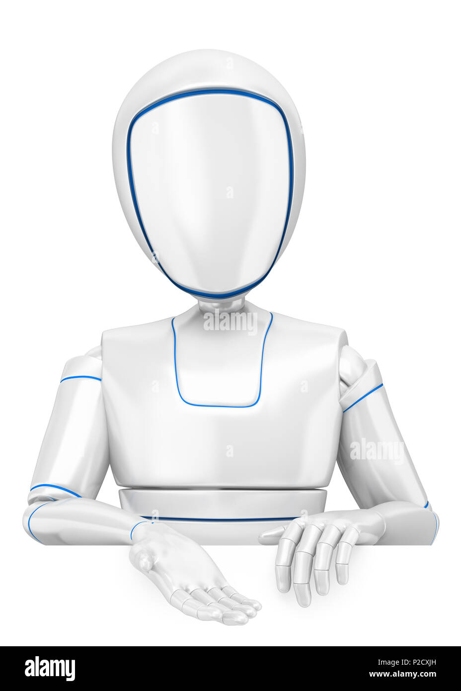 3d futuristic android illustration. Humanoid robot pointing down. Isolated white background. - Stock Image