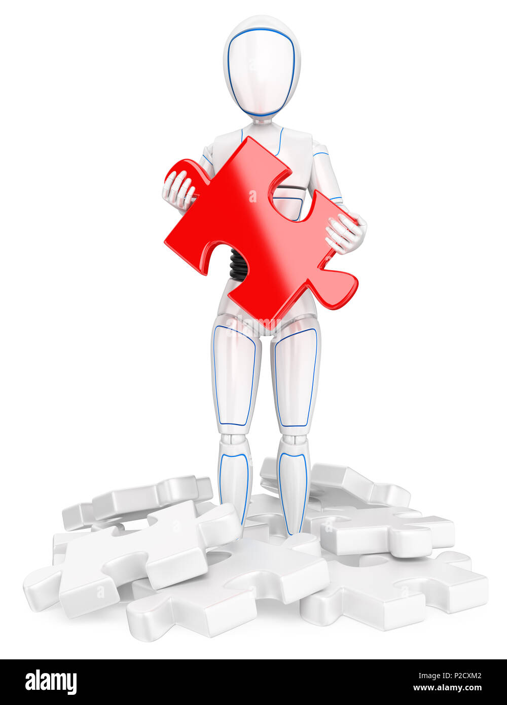 3d futuristic android illustration. Humanoid robot with a red puzzle piece. Find the solution. Isolated white background. - Stock Image
