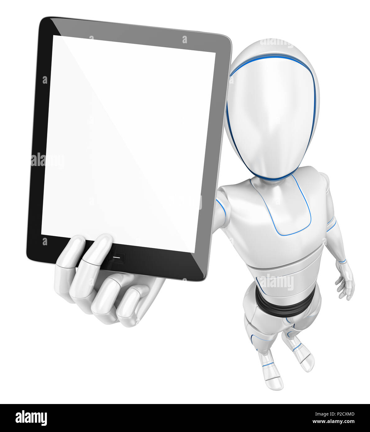 3d futuristic android illustration. Humanoid robot with a blank screen tablet. Isolated white background. - Stock Image