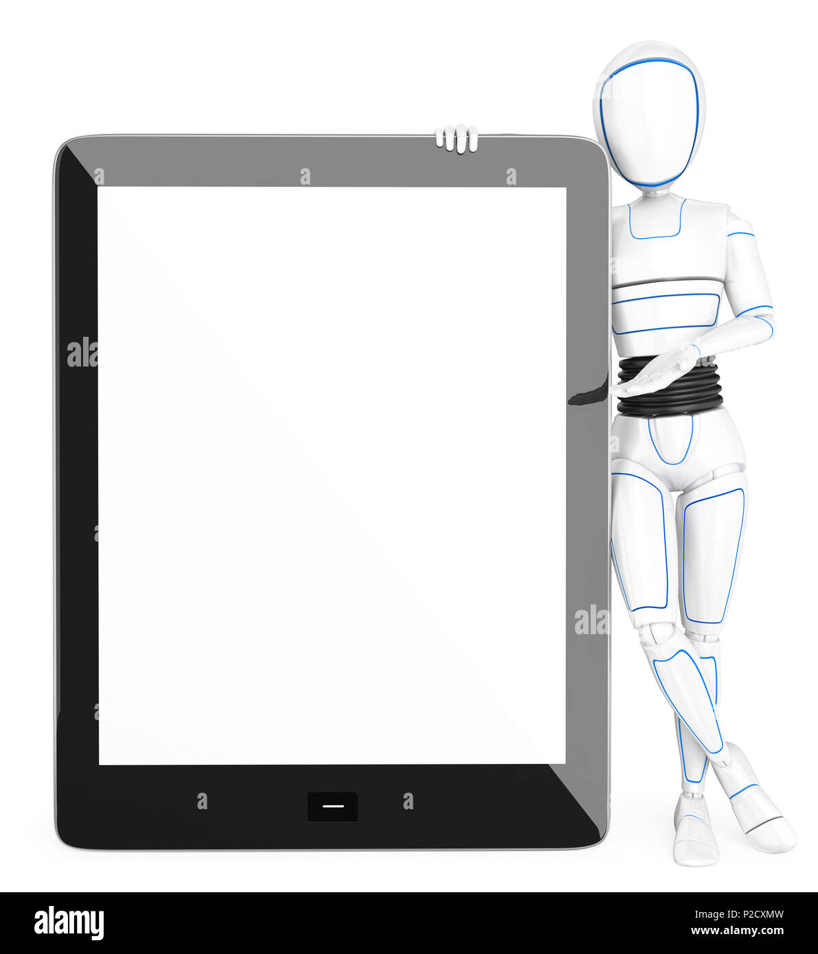 3d futuristic android illustration. Humanoid robot leaning on a huge tablet with blank screen. Isolated white background. - Stock Image