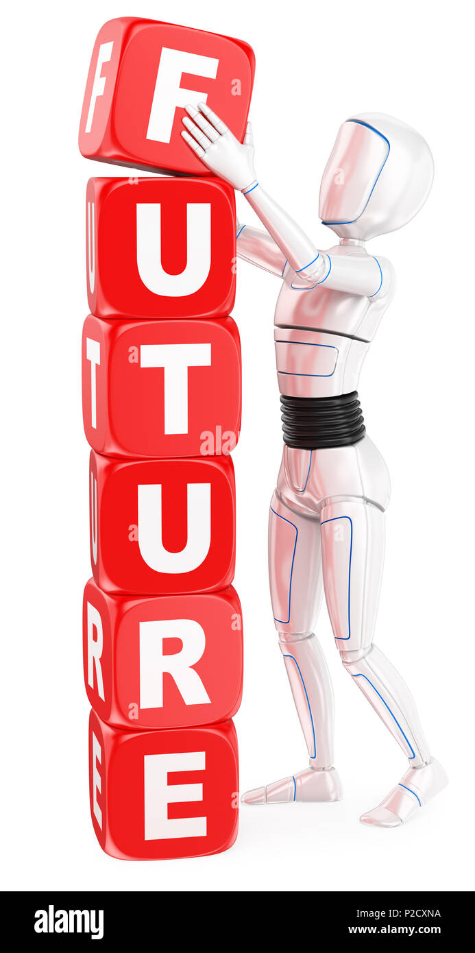 3d futuristic android illustration. Humanoid robot future word concept. Isolated white background. - Stock Image