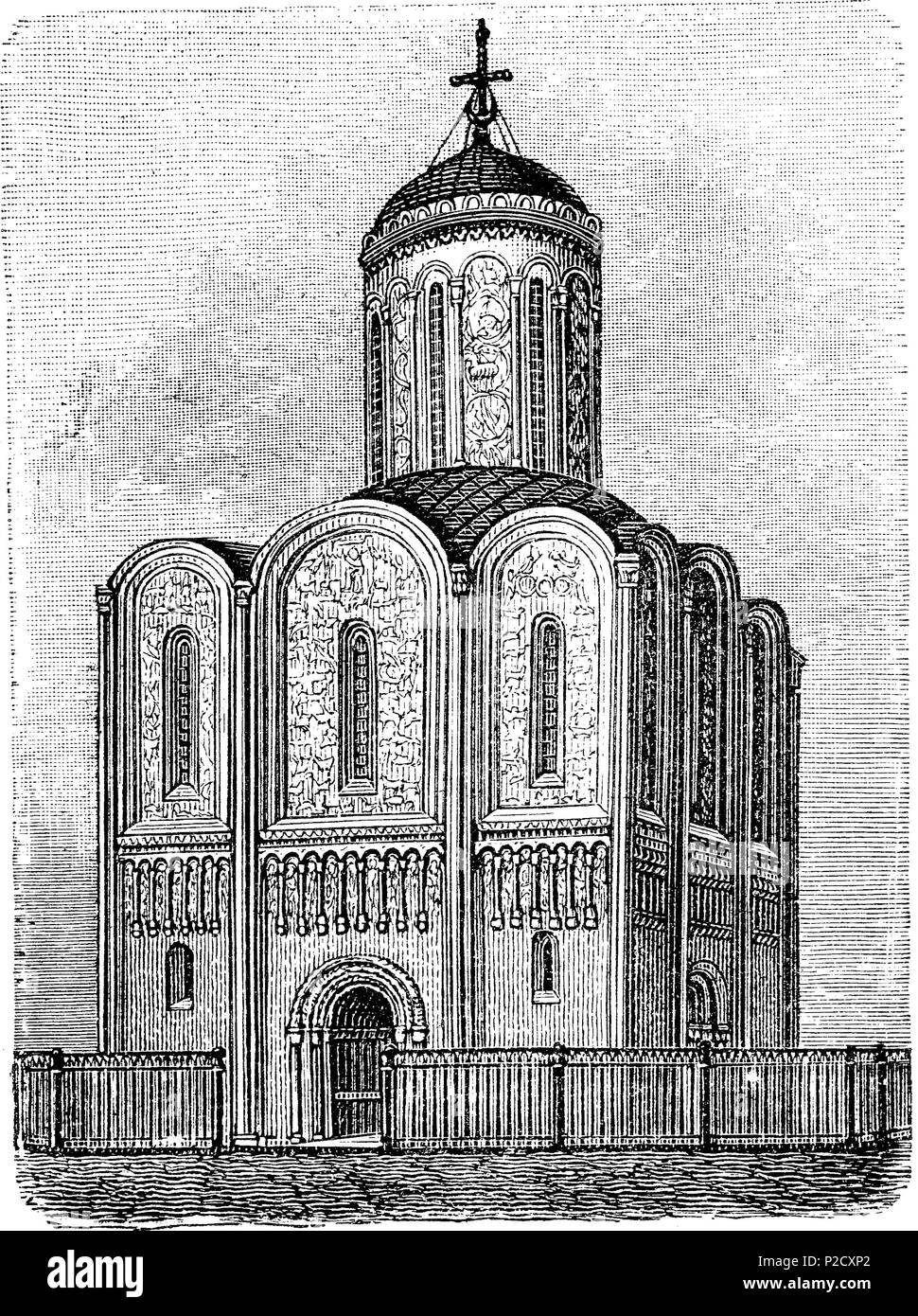 St. Demetrius' Cathedral at Vladimir, Russia, Kathedrale des heiligen Demetrius zu Wladimir, Ende des 12. Jahrhunderts, Russland, digital improved reproduction from an original print from the 19th century, 1881 - Stock Image