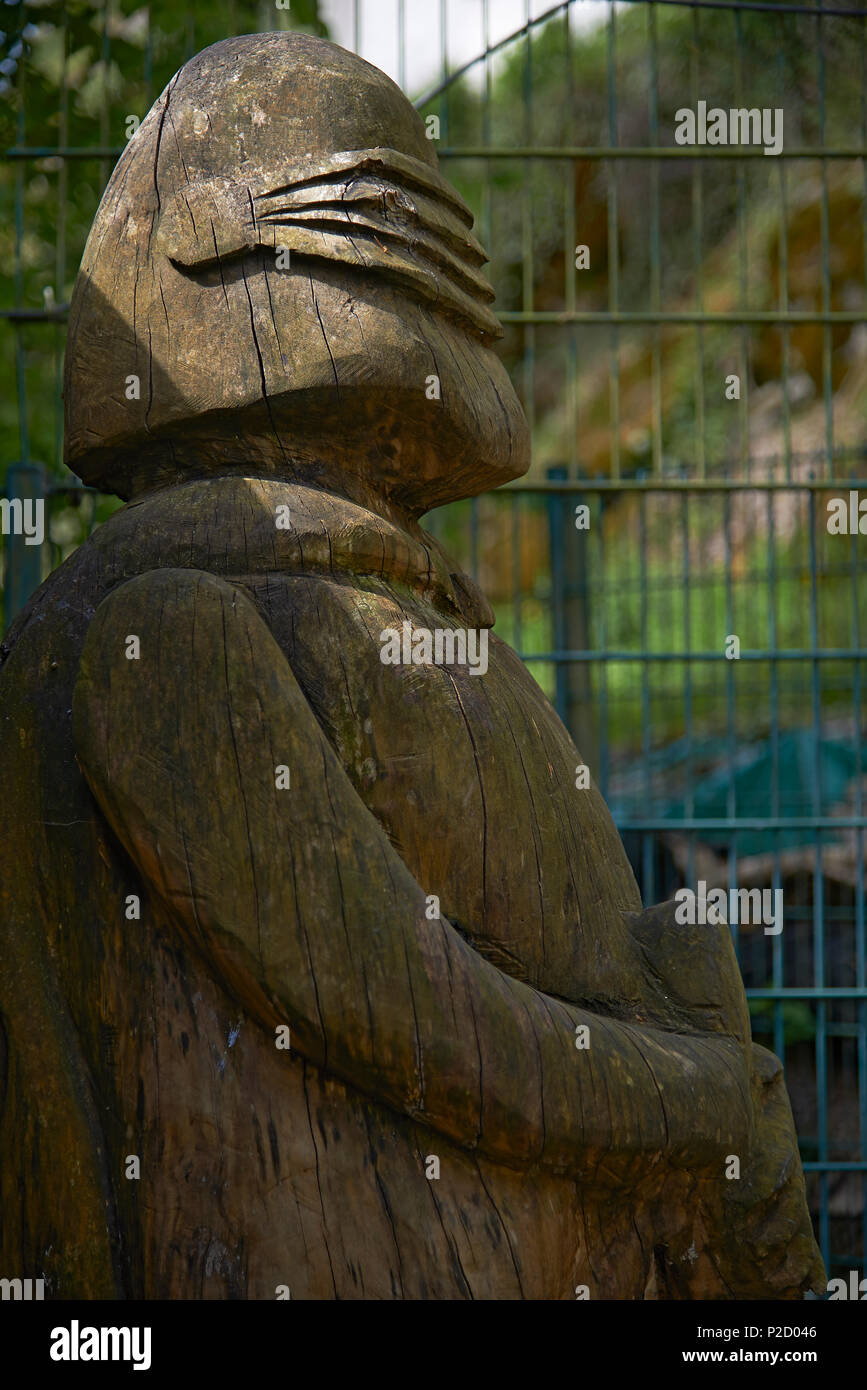 Wooden carved statue of Darth Vader from the science fiction films Star Wars - Stock Image