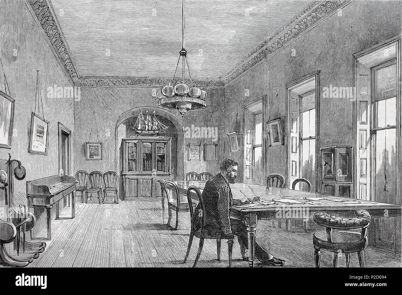 Ireland, the new committee-room of the land-league in Dublin, digital improved reproduction from an original print from the 19th century, 1881 - Stock Image