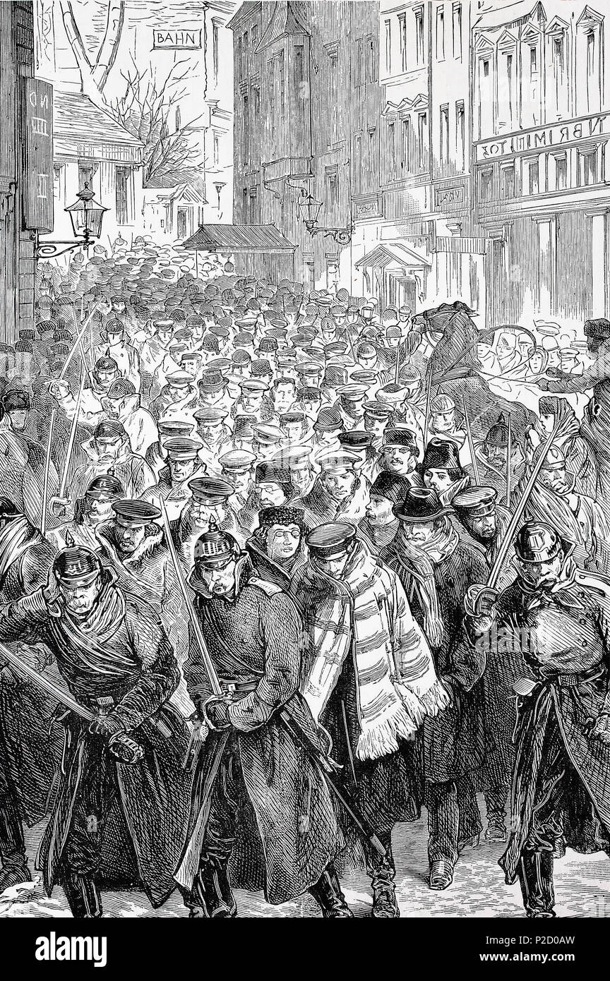 Russia, Arrest of four hundred students at Moscow, marching to Prison, digital improved reproduction from an original print from the 19th century, 1881 - Stock Image