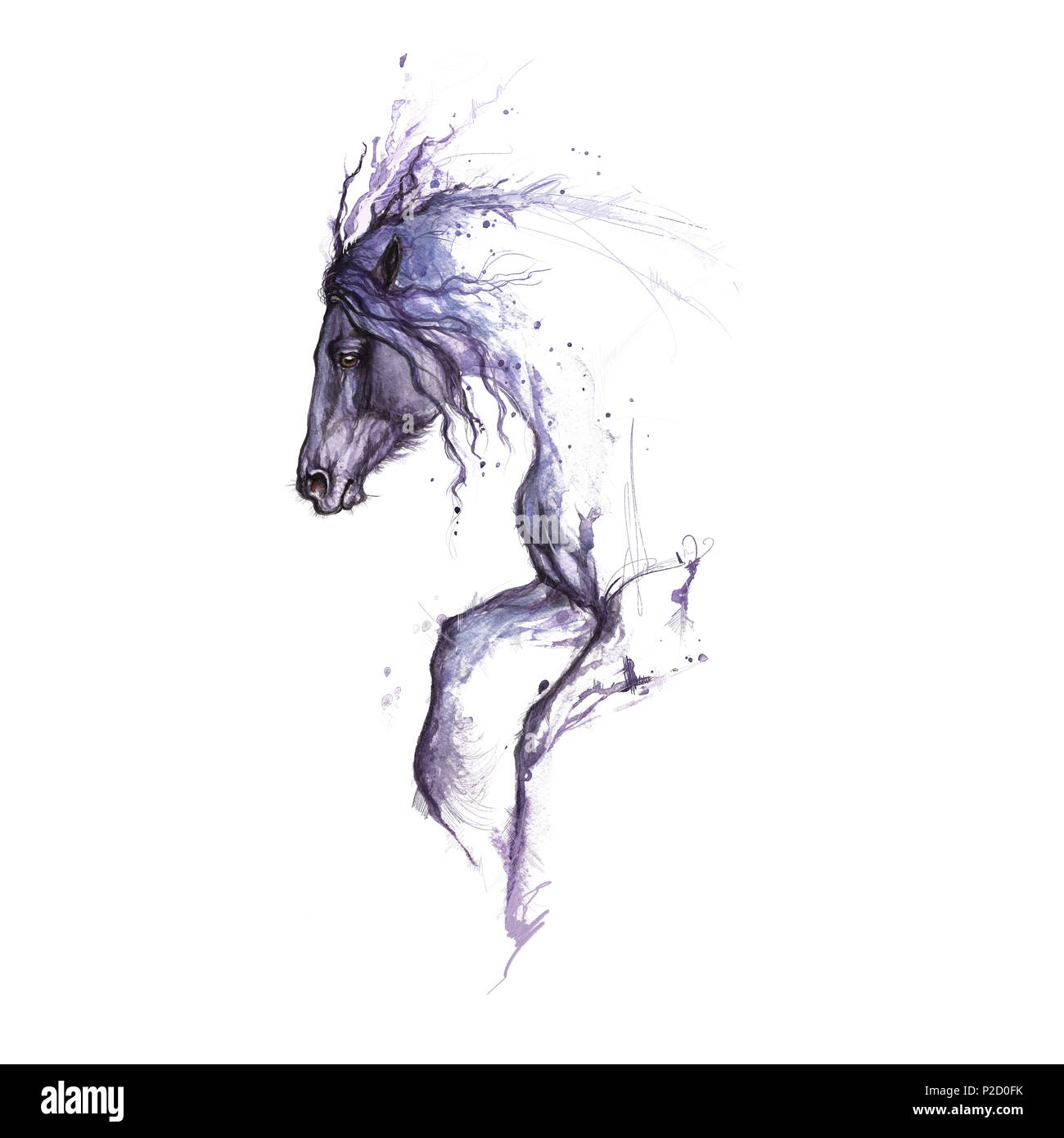 Watercolor Painting Of Horse Tattoo Design Stock Photo Alamy
