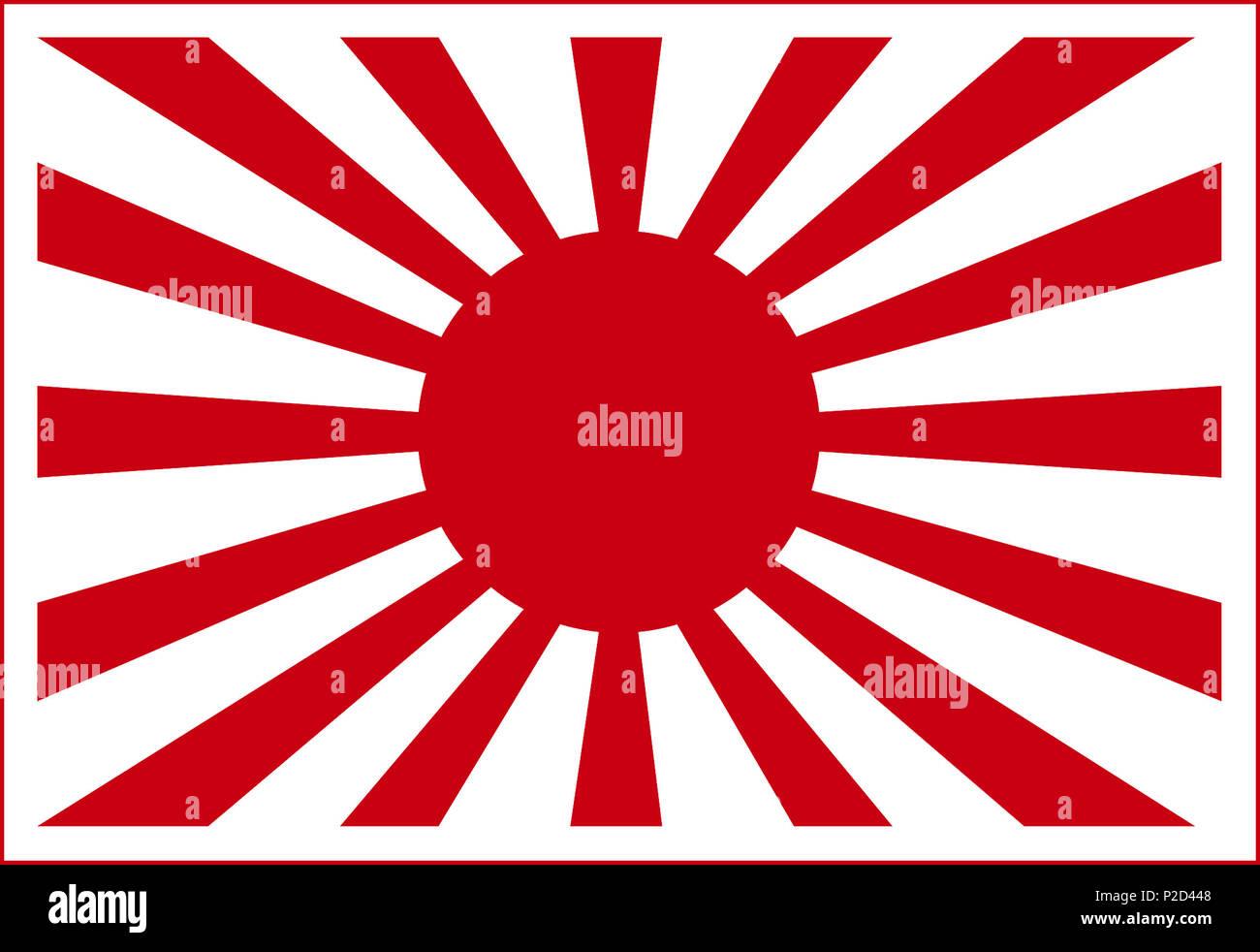 WW2 Imperial Japanese fighting Flag Rising Sun symbol - Stock Image