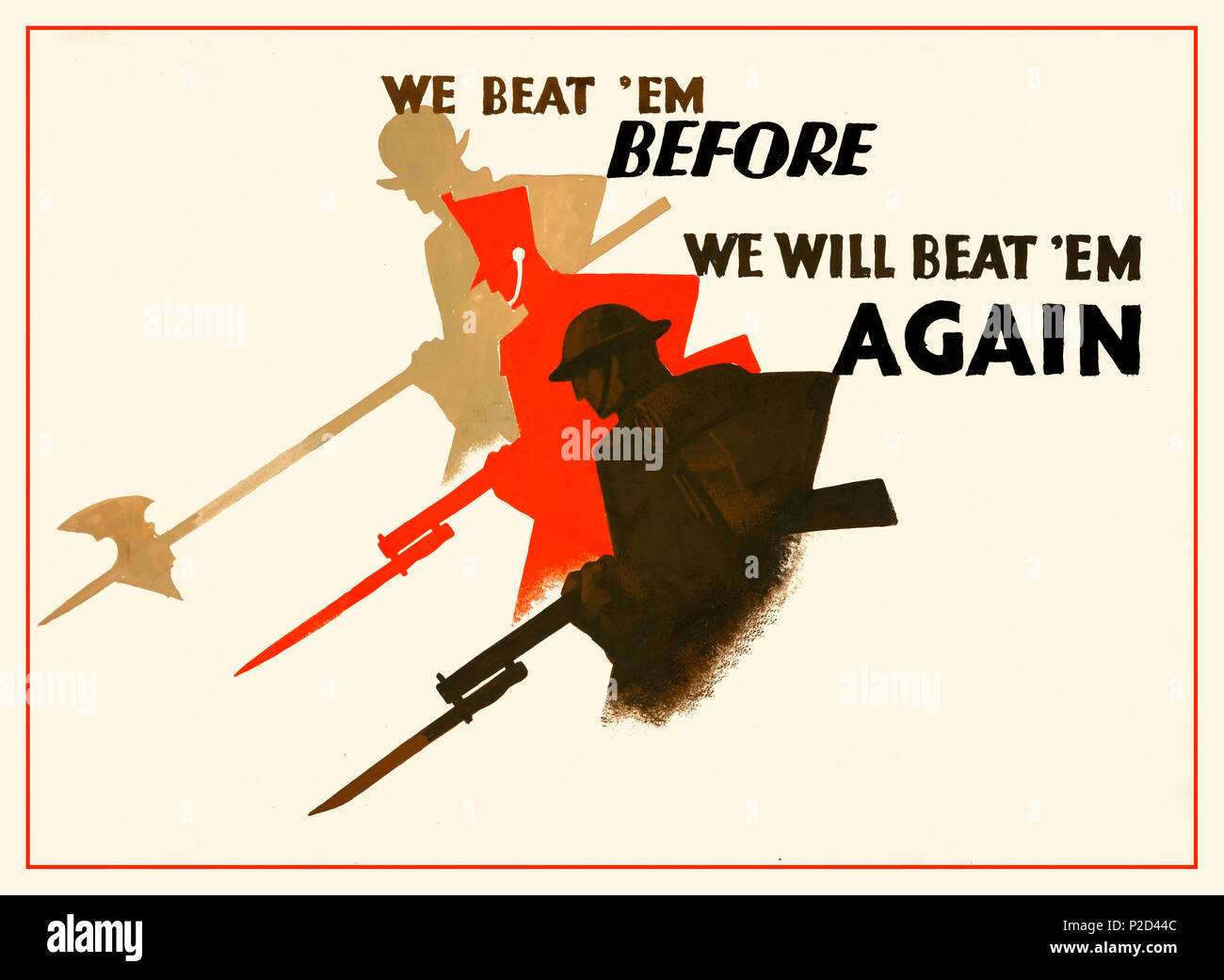 WW2 1940 Vintage Propaganda Graphic Art Poster, illustrating British historically defeating  the Germans in WW1 and will beat them again in WWII - Stock Image
