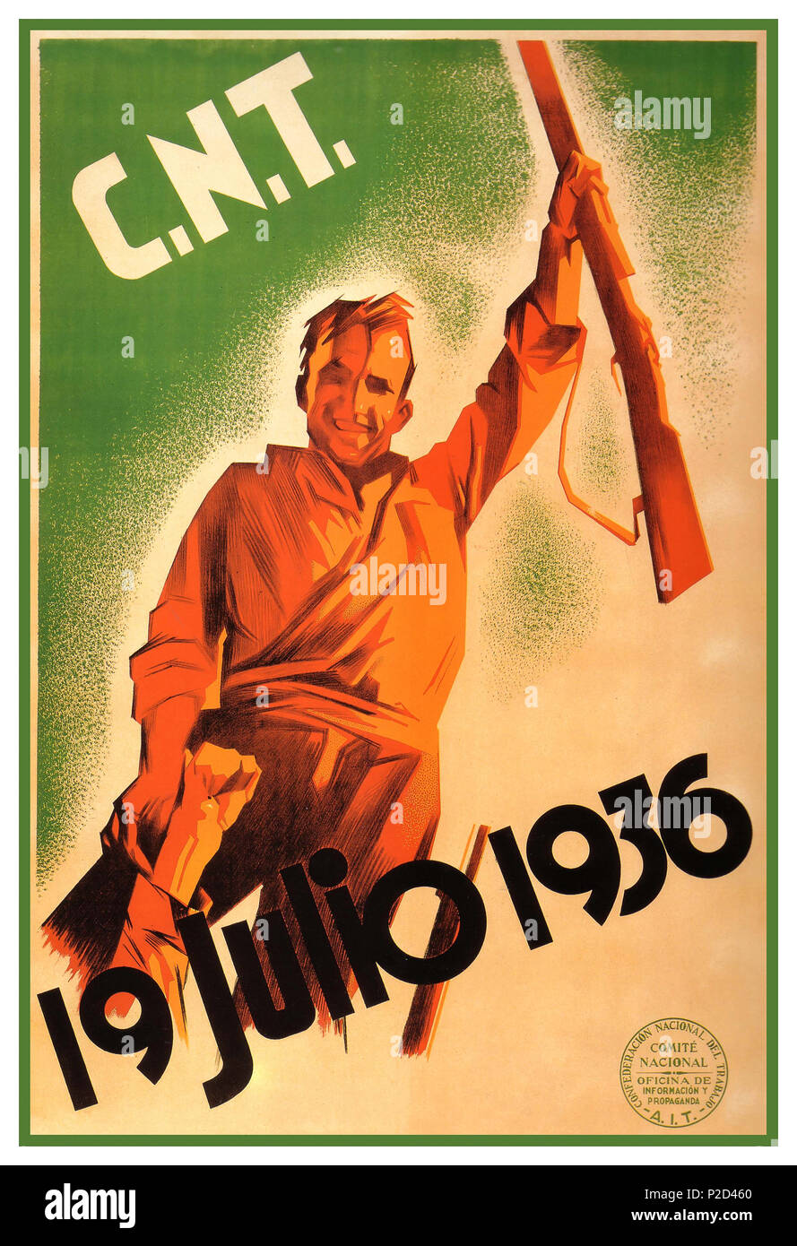 Vintage 1930's Propaganda Spanish Poster July 19, 1936 marks the 79th anniversary of the beginning of the Spanish Revolution, when anarchists across Spain took up arms against the reactionary Spanish military forces that were attempting to take over Spain. What ensued was a bloody civil war and the ultimate defeat of the Spanish anarchists three years later, as a result of an arms embargo, Communist treachery and a fascist military machine fuelled by weapons and military expertise from Nazi Germany and Fascist Italy. - Stock Image