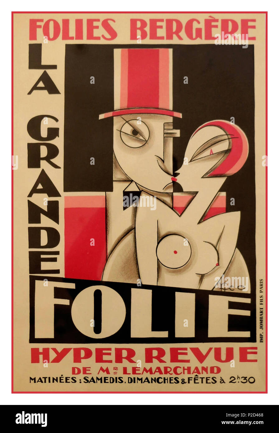 Vintage 'Folies Bergère' poster designed by sculptor Maurice Picaud known as Pico  for the spectacle show 'La Grande Folie' held at the famous cabaret 'Les Folies Bergère' in the late 1920's. Poster printed by Jombart Fils-Paris. Maurice Picaud is an artist of decorative arts following his design for the Art Deco façade of the cabaret les Folies Bergère in the late 1920s in Paris France Published by Jombart Fils Paris - Stock Image